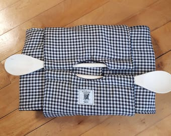 Black Gingham Insulated Casserole Carrier with wooden spoons.