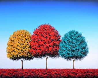 Art Print of Tree Painting, Colorful Tree Art, Rainbow Tree Print, Giclee Print of Oil Painting, Contemporary Art, Bright and Large Wall Art