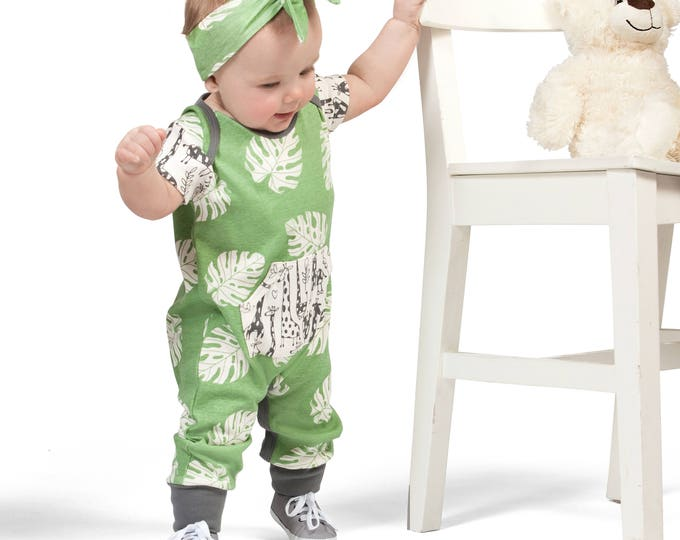 Newborn Baby Onesie Outfit Summer, Baby Girl Green Pocket Romper, Infant Neutral Romper Green Leaves, Newborn Baby Tesa Babe