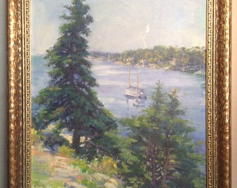 Vintage oil painting on board - landscape with sailboats in old gilded frame