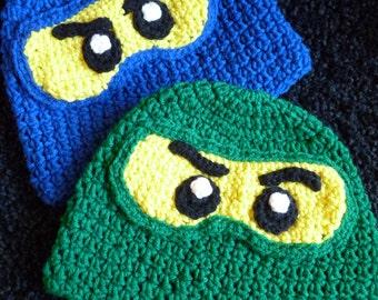 Ninja lego ninjago inspired crochet hat i can knit too 0-toddler
