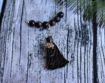 Hand crafted jewelry, tassel necklace, tiger eye jewelry, elephant jewelry
