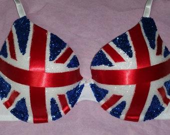 Union Jack Flag Rave Bra red white blue glitter ribbon