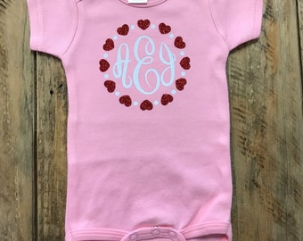 Monogrammed  One Piece Creeper, Personalized Creeper