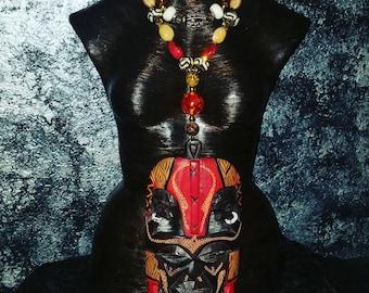 Bali Mask Statement Pendant Tribal Ethnic Statement Necklace XENA Amazonian Queen KATROX Haute Couture Catwalk Boho Chic Gypsy Soul Fierce