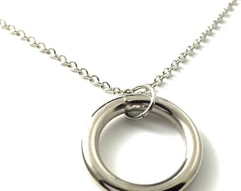 Circle Silver Necklace Hardware Jewelry Industrial Small Hardware Circle