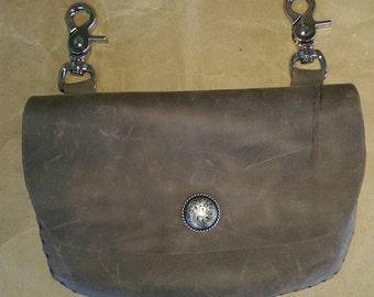Distressed Brown leather hip belt bag