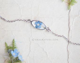 Forget me not bracelet | Delicate bracelet | Blue bracelet jewelry | Blue elegant bracelet | Forget-me-not flower bracelet