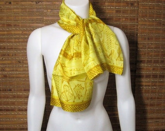 60s Silk Scarf Vintage Vera Neumann Ladybug Mark, Long Scarf, Yellow Mod Abstract Scene, Rectangle Scarves Oblong, Hand Rolled Made In Japan