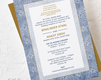 Blue Tapestry - Wedding Invitations (Style 13789)