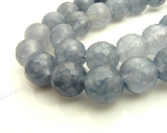 10mm Gray Jade Faceted Gemstone Beads - 19pcs - BF38