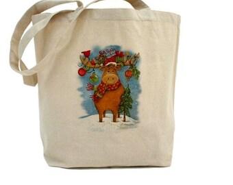 Reindeer Tote - Christmas Tote Bag - Cotton Canvas Tote Bag - Holiday Gift Bag