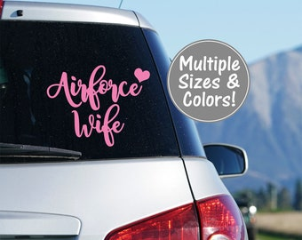 Air Force Wife Car Decal, Air Force Car Decal for Women, Air Force Decal for Tumbler, US Airforce Yeti Decal, Love Airforce Wife Decal