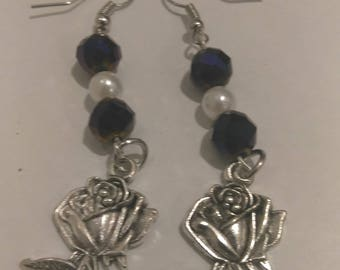 Silver Rose Earring with Black Beads and Pearl Bead