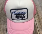 Toddler/Kids Trucker Hat- Wanderlust Patch -Pink/White ...