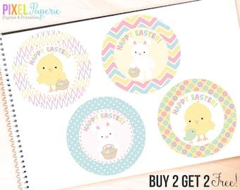 easter tags printable digital bunny bunnies - Easter Friends Tags Printable