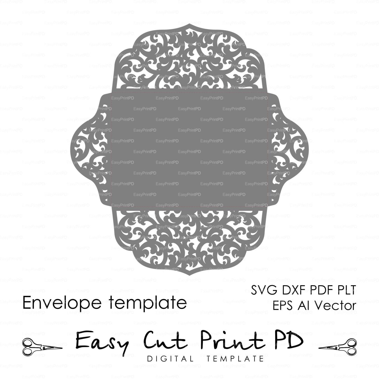 Scroll Lace Wedding Envelope pattern Template swirl cutting