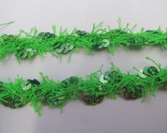 Metallic Lime Green Sequined Designer Braid/Gimp/Trim Craft/Haberdashery