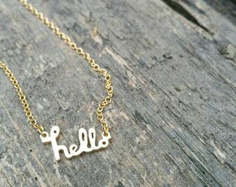 Adorable little hello Gold Necklace