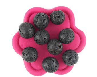x 10 (8) 10mm black lava beads