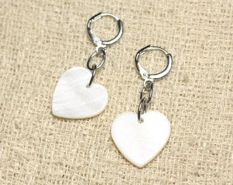 Heart 18mm White Pearl Earrings