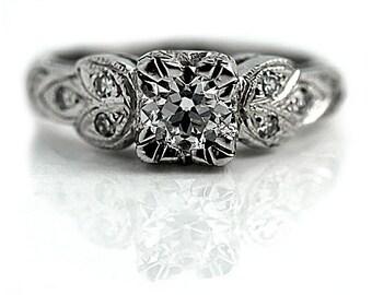Vintage Engagement Ring .77ctw Old European Cut Antique Diamond Ring Filigree Platinum Engagement Ring Diamond Ring Vintage Diamond Ring
