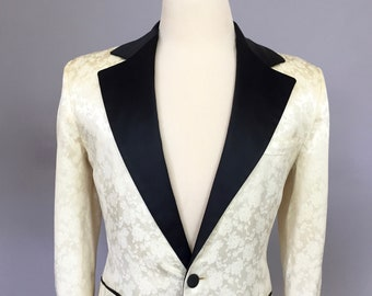 Vintage Brocade Tux Jacket 1960s 60s Tux Size 44 Jacket Tuxedo Smoking Jacket Dinner Jacket