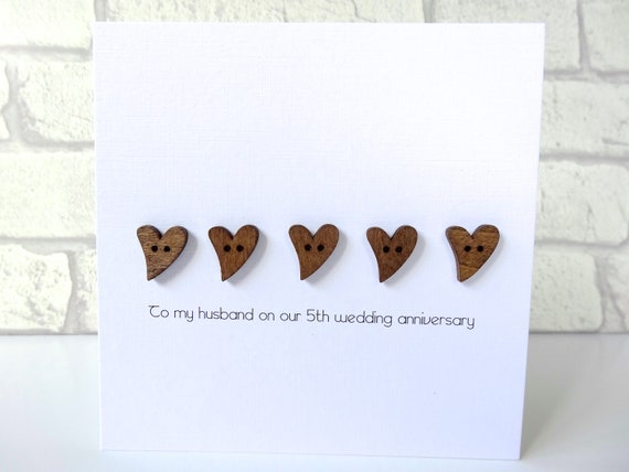 Th wedding anniversary card romantic personalised wood