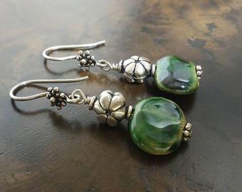 Green Earrings, Kazuri Earrings, Sterling Silver Earrings, Flower Beads Earrings, Metal Bead Earrings, Flower Earwire Earrings, Gift for Her