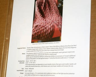 CLEARANCE Printed Obstacles Wrap Shawl Throw Knitting Pattern, Knitspot