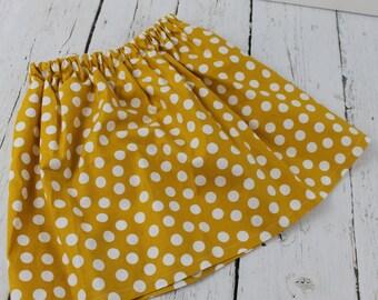 Mustard Polka Dot Baby Girl Skirt  Toddler Girls Skirt 1st Birthday Skirt Baby Girls Twirl Skirt Vacation Skirt Summer Fall Skirt