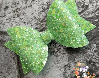 Frosted Lime Green Glitter Hair Bow - Handmade With Alligator Clip - Small, Medium & Large.