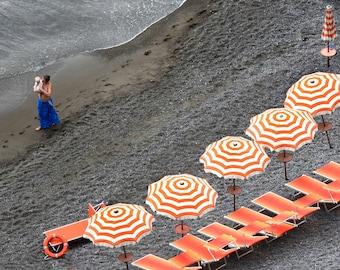 Coastal Art Print, Beach Umbrellas, Beach Chairs