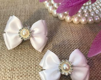 White Lace Hair Bow, Bow hair clips