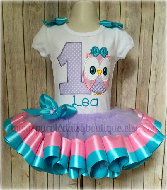 Owl Theme Birthday Outfit In Purple Pink And Turquoise With