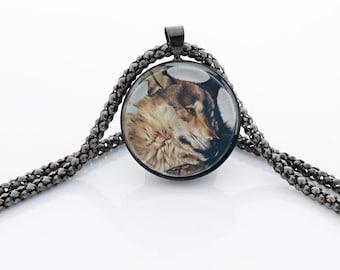 Brown Wolf Necklace, Gunmetal Black, Fine Art Print, Photo Jewelry