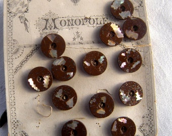 12 Antique Brown Buttons with Shell Accents, 19 mm, Beautiful Art Nouveau Card, Period Illustration of Birds and Borders,Monopole Brand
