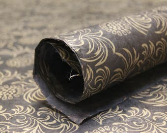 Black and Gold handmade holiday Wrapping Paper gift wrap 3 sheets floral print