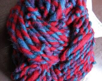 Red Blue and Purple Striped Handspun Yarn 32 yards