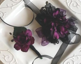 Purple and Black Wrist Corsage with Matching Boutonniere Artificial Flowers  Ready To Ship    corsage and boutonniere set SEE DESCRIPTION