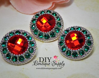 Holiday Rhinestone Buttons Green & Red - CHRISTMAS Crystal Button Rhinestone Embellishments Flower centers bow centers 5 pcs 21mm 754040