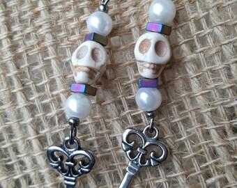 Pearl skull key dangle earring