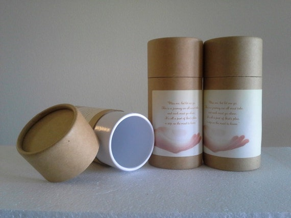 """SET OF THREE Eco-Friendly Cremation Urn Scattering Tubes w/Telescopic Lids - Natural/Biodegradable - Style """"Essence"""""""