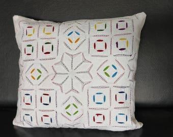 Cushion Cover - Cotton Backed Applique, Handmade Cushion Cover, Cotton Cushion Cover