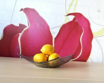 Modern Fused Glass Fruit Bowl. Smokey Grey Glass Bowl. Minimalist Fused Glass Centerpiece Fruitbowl Statement Fruitbowl Designer Fruitbowl M