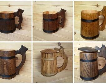 Wooden mug for beer, handmade