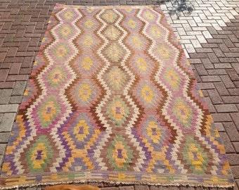 "Faded pink and purple kilim, Turkish kilim rug, 108"" x 65"", area rug, kilim rug, kelim rug, vintage rug, rug, rustic rug, tribal rug, 374"