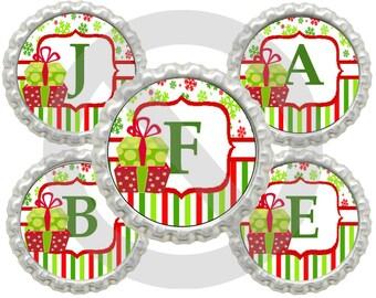 "20% OFF SALE  Instant Download Printable 1"" Circle Christmas Present Alphabet Bottle Cap Images"