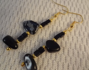 Black Toned Alabaster Long Dangle Unique Stone 22k Gold Earrings - Chloe F079