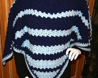 Poncho Crocheted Light and Dark Blue Coverup Shawl Wrap